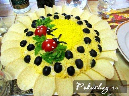 фото красивых празднечных блюд салат подсолнух