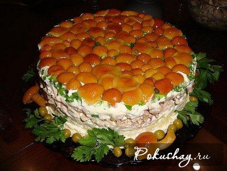 Рецепт салата лукошко с опятами с фото