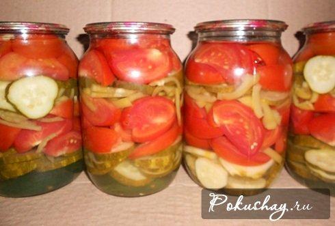Рецепты салатов из помидор.огурцов.заготовки на зиму с фото